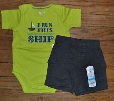 I Run This Ship Nautical Theme Summer Outfit Sailboat Bodysuit & Shorts 6 Month