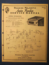 ROGERS MAJESTIC MODEL 309 AUTO RADIO SERVICE MANUAL ORIGINAL FACTORY ISSUE