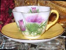 Shelley PURPLE THISTLE Tea Cup and Saucer DAINTY SHAPE Yellow handle