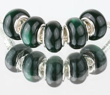 5PCS SILVER MURANO Cat's Eye BEAD Fit European Charm Bracelet Making #B489
