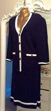 Gorgeous smart vintage black white stripe calf skirt long jacket suit size 12