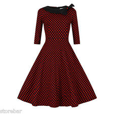 Women 50'S 60'S DRESS Vintage Style Swing Pinup Housewife Party Dress PLUS SIZE