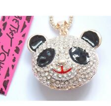 Cute NWT Betsey Johnson Necklace �� Panda Black And Gold Crystal Adorable