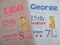 Personalised Baby Blanket  Embroidered Fleece -Giraffe New Baby/Christening Gift