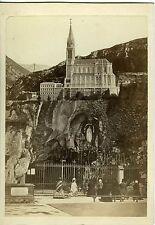 PHOTO CABINET LOURDES la grotte vintage scène de genre  albumen vers 1880