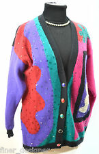 SK Company VTG Sweater Lambswool Angora Cardigan button Retro 80's beaded M NEW