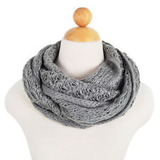 Solid Color Winter Cross Diamond Knit Infinity Loop Circle Scarf - Diff Colors