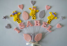Giraffe, birthday cake topper, girl jungle animals personalised any name and age