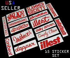 ILLEST FATLACE STANCEWORKS JDM SET 8 INCH 15 RED STICKERS DECAL DAPPER STATIC