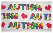 7/8 AUTISM AWARENESS HEART LOVE GROSGRAIN RIBBON AUTISTIC PUZZLE 4 HAIRBOW WHITE