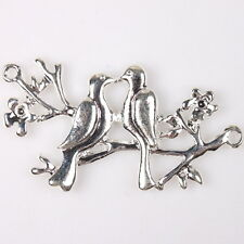 10x 145536 Fashion Plated Silver Alloy Bird&Branch Charms Pendants Hot Findings