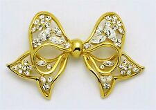 NOLAN MILLER Bow Ribbon PIN BROOCH Swarovski  RHINESTONES Gold Plated