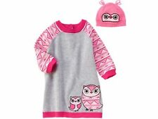 GYMBOREE FAIR ISLE FRIENDS INFANT GIRLS KNIT OWL  DRESS AND HAT  SIZE 18-24 MTHS