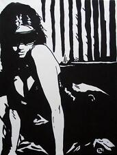 Erotic Pop Art Original Oil Painting by Terry P Wylde : BDSM Blindfold Beauty