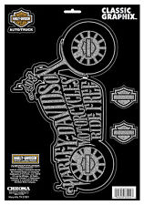 Harley Davidson Wordle Classic Rear Window 13 INCH Embossed chrome DECAL