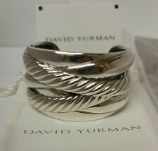 David Yurman Cuff Cable Bracelet Cross Over Sterling Silver 43mm Jewelry w Pouch