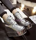2016 Shiny Leather Gold Silver Womens Hidden Wedge Heel High Top Trainer Sneaker