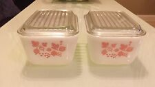 PYREX PINK GOOSEBERRY Set Of Two Large Refrigerator Containers WITH LIDS!!!