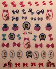 Nail Art 3D Decal Stickers Cat Kitten Bows Bunny Presents Valentine's Day K063