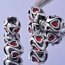 5 loose beads White Gold F Swarovski crystal european beads lots For Bracelet