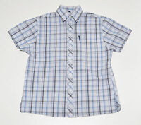 MENS BEN SHERMAN CASUAL SHIRT 55% COTTON SHORT SLEEVED BLUE CHECKED S SMALL EXC