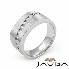 Channel Round Diamond Mens Half Wedding Band 10.7mm Ring 14k White Gold 0.60Ct