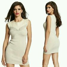 GUESS by Marciano beige Mels Leather Sweater Bandage Dress size S
