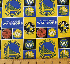 NBA Sports Broadcloth Golden State Warriors Patch 100% cotton Fabric by the yard