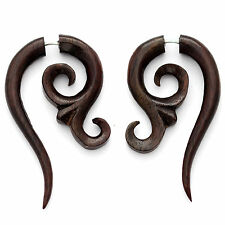 FAKE GAUGE EARRINGS Sono Wood rosewood  F158 carved wooden surgical steel POSTS