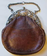 Antique Art Nouveau Silver Floral Iris Frame Leather Chatelaine Kilt Purse 1900