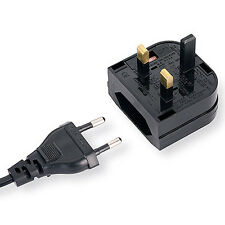 UK Mains to Euro Socket Adapter 3A - For Converting EU Plug Lead Cable