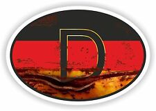 OVAL GERMAN FLAG WITH D COUNTRY CODE STICKER VINTAGE OLD LOOK RUSTY RETRO Bumper
