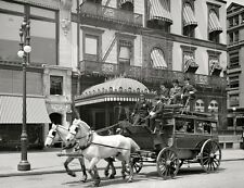1901 Fifth Ave NYC Traveling Horse Drawn Passenger Coach 8 x 10 Photograph