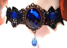 BLUE BLACK VELVET LACE CHOKER goth necklace bronze filigree Gothic Steampunk K5