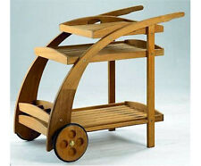 A-Grade Teak Trolley Cart With Serving Tray, Bottle Rack Patio Outdoor Furniture
