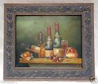 "Oil Painting on Wood Panel ""Wine & Food"" w/ Vintage Style Ornate Frame 11x13"""