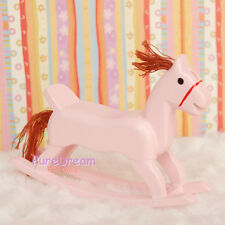 1:12 Dollhouse Miniature Toy Wood  Rocking Horse Pink Length 10cm, height 6.8cm
