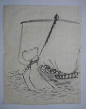 THE 'TAKARABUNE' TREASURE SHIP : OLD Chinese Style Japanese Zen Brush Painting