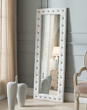 Kings Brand Furniture White Modern Upholstered Tufted Standing Floor Mirror