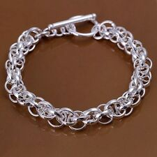 Bracelet T-Bar Multi Chain Link 925 Sterling Silver Chunky Gift Bag Woman's