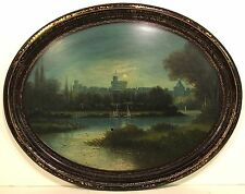 Antique 19th c. Oval LACQUERED PAPER MACHE TRAY w/ LANDSCAPE OIL PAINTING