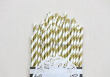 50 Gold Striped Straws/Great Gatsby/50th Birthday/Engagement Party/Old Hollywood