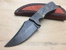 Custom Hand Made Full Tang Damascus Hunting Skinner Knife With Leather Sheath 2