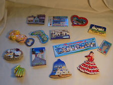 Collection 14 travel themed fridge magnets, ceramic and plastic