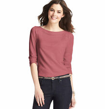 NWT Ann Taylor Loft Berry Romantic Lace Inlay Boatneck Sweet Puff Slv Shirt XS