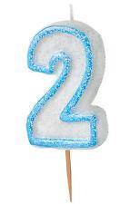 Kuchenkerze, Tortenkerze, Zahlenkerze Zahl 2 Blau Glitzer Kinder Geburtstag