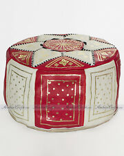 "Moroccan Genuine RED Leather Handmade Pouf Footstool, 15.7"" W"