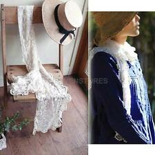 Women Girls Beautiful Crochet Tassel Scarf Lace Floral Scarves Wraps White  hv2n