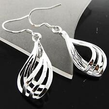 A116 GENUINE REAL 925 STERLING SILVER S/F LADIES RETRO HOOK LONG DROP EARRINGS