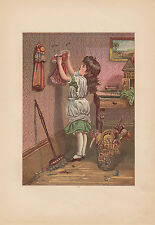 Victorian Girl Hanging up Doll Clothes Early Doll Lithograph Antique Art  Print